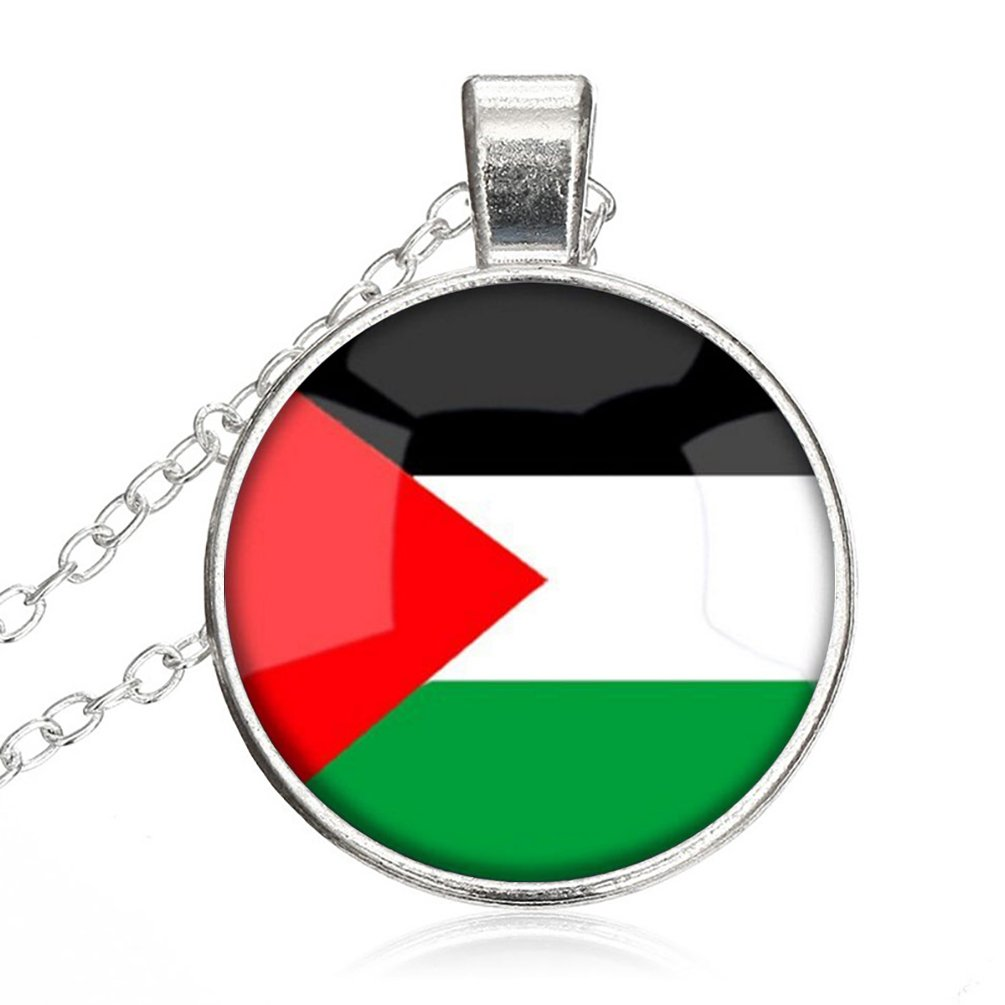The Hashemite Kingdom of Jordan National Flag Glass Cabochon Round Pendant Glass Necklace Choker Silver Plating Chain Healing Amulet