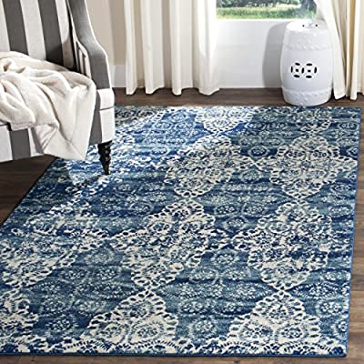 "Safavieh Evoke Collection EVK266F Royal Blue and Ivory Area Rug (5'1"" x 7'6"") - The high-quality polypropylene and jute fibres add durability and longevity to these rugs The power loomed construction add durability to this rug, ensuring it will be a favorite for a long time The unmatched style of this rug's pattern will give your room a contemporary accent - living-room-soft-furnishings, living-room, area-rugs - 61uXW1oBVNL. SS400  -"
