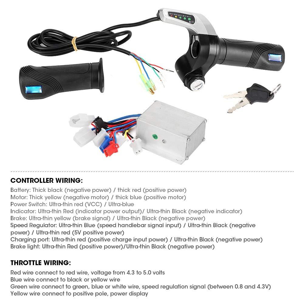 Suuonee Motor Controller 24V 250W Motor Brushed Controller Box mit Gasgriff f/ür Elektroroller E-Bike