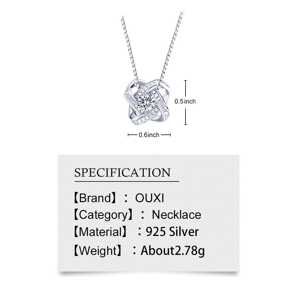 OUXi Sterling Silver Infinity love Diamond Pendant Necklace with Cubic Zirconia for Women