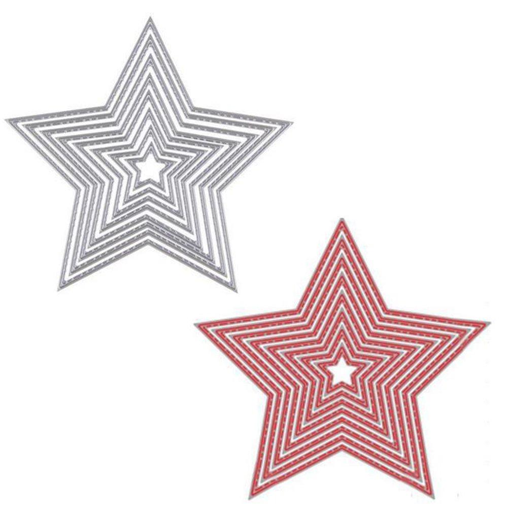 Fablcrew Stencil per Fustellatici a Forma di Stella a Cinque Punte, Modello Goffrato per Album Fai da Te 8 Pezzi a Set (Colore Casuale)