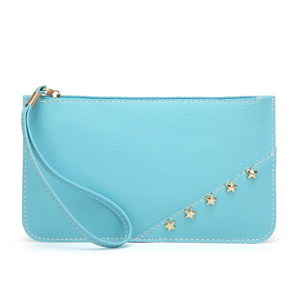 JJLIKER Women Wallet Soft PU Leather Wristlet Portable Bag Card Organizer Phone Holder Ladies Purse Wrist Strap Zipper