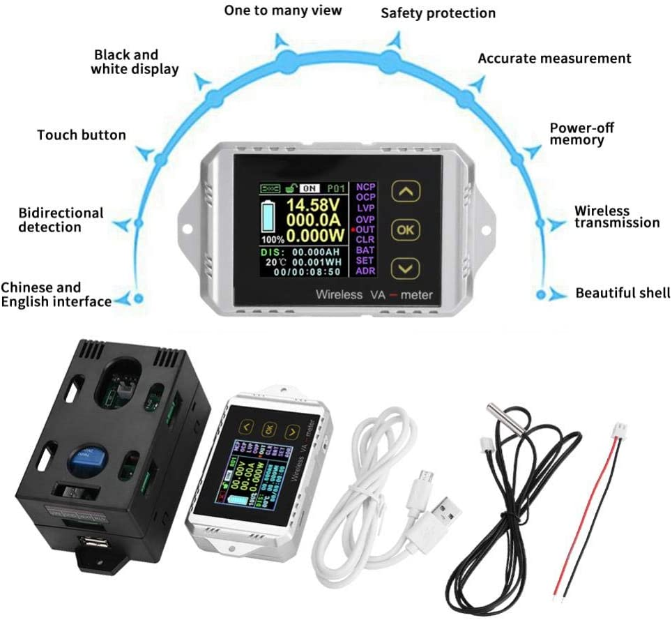 Oumij Wireless Battery Tester Ammeter power meter Wireless Color LCD Screen DC Voltage Ammeter Power Meter Watt Tester(VAT-1200) VAT-1200
