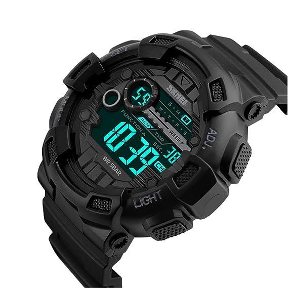 3df63d92574c Skmei Reloj Negro Hombre Digtial Al Aire Libre G Style Cronómetro Deportivo  Militar Reloj de Pulsera de Marca rapa Hombre Teenager  Amazon.es  Relojes