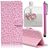 Samsung Galaxy S6 Edge Embossing Pattern Case, Bonice Magnetic Snap PU Leather Wallet Case [Free Metal Stylus Pen + Diamond Antidust Plug] Hybrid Silicone Rubber Gel Anti Scratch Shockproof Protective Bumper-Pink Love Heart