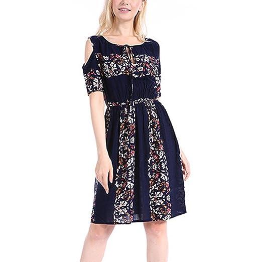 b7245528d1f Overdose Women Dress Cold Shoulder O-Neck Floral Mini Dress  Amazon.co.uk   Clothing