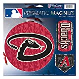 "Arizona Diamondbacks MLB Prismatic 3 Different Die Cut Magnets On Single 11"" x 11"" Sheet Magnet"