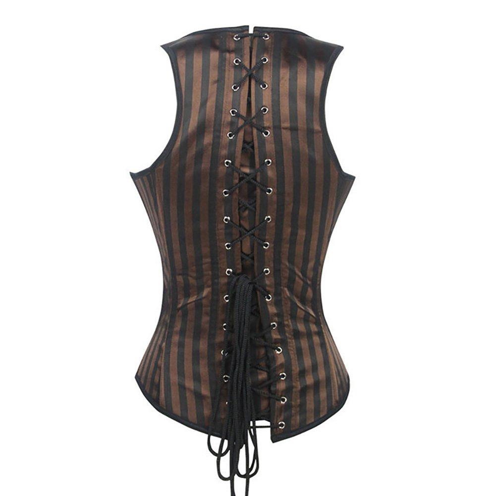 WECHERY Womens Steel Boned Vintage Corset Steampunk Gothic Bustier Waist Cincher Vest