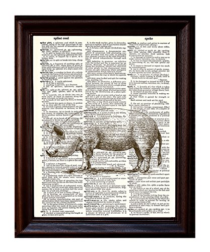 Fresh Prints of CT Pig 8 x 10.5 Dictionary Art Print Printed On Authentic Vintage Dictionary Book Page