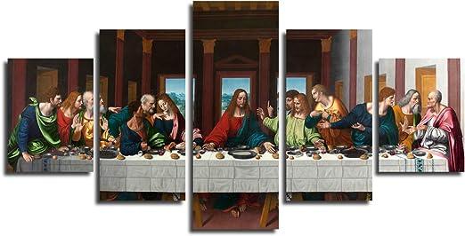 Jesus Christ The Last Supper by Leonardo Da Vinci Painting Real Canvas Art Print