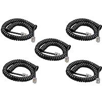 SINCODA 5 Pack 6Ft Modular Coiled Telephone Handset Cord for telephone/Handset black Curly Cord