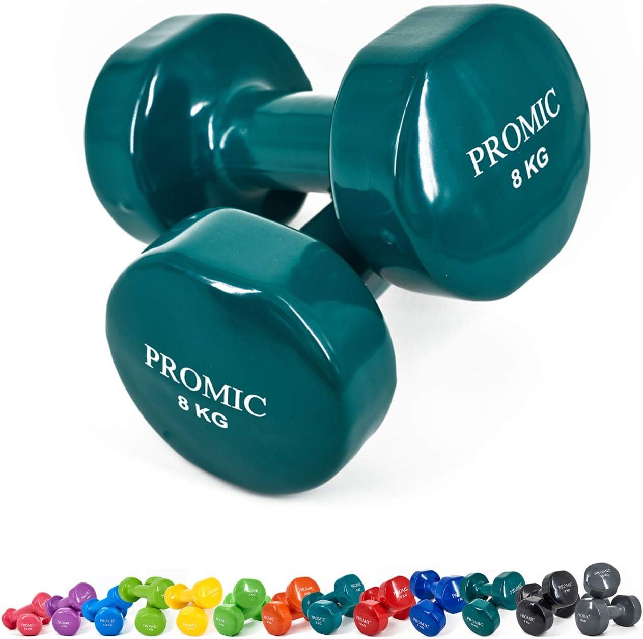 K  2 x 8 kg - Dunkelgrün PROMIC Kurzhanteln, 2er Set Hanteln, 0,5kg-10kg Gymnastikhanteln, Vinyl Hanteln Set mit gutem Grip, Gewichte kurz Hanteln Set für Aerobic Pilates, 13 Gewichts-und Farbvarianten