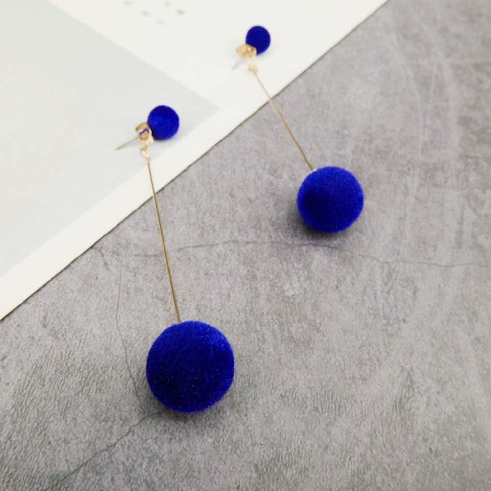 Holibanna Pendientes Colgantes de Pompones Pendientes Largos con Aretes de Bola para Mujeres Ni/ñas Regalo Banquete de Boda Joyer/ía de Fiesta de Baile Diario Azul