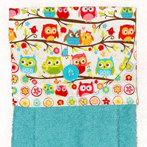 Hanging Hand Towel - Kitchen Hand Towel - Owls and Flowers Print With Plush Blue Towel and Button ()