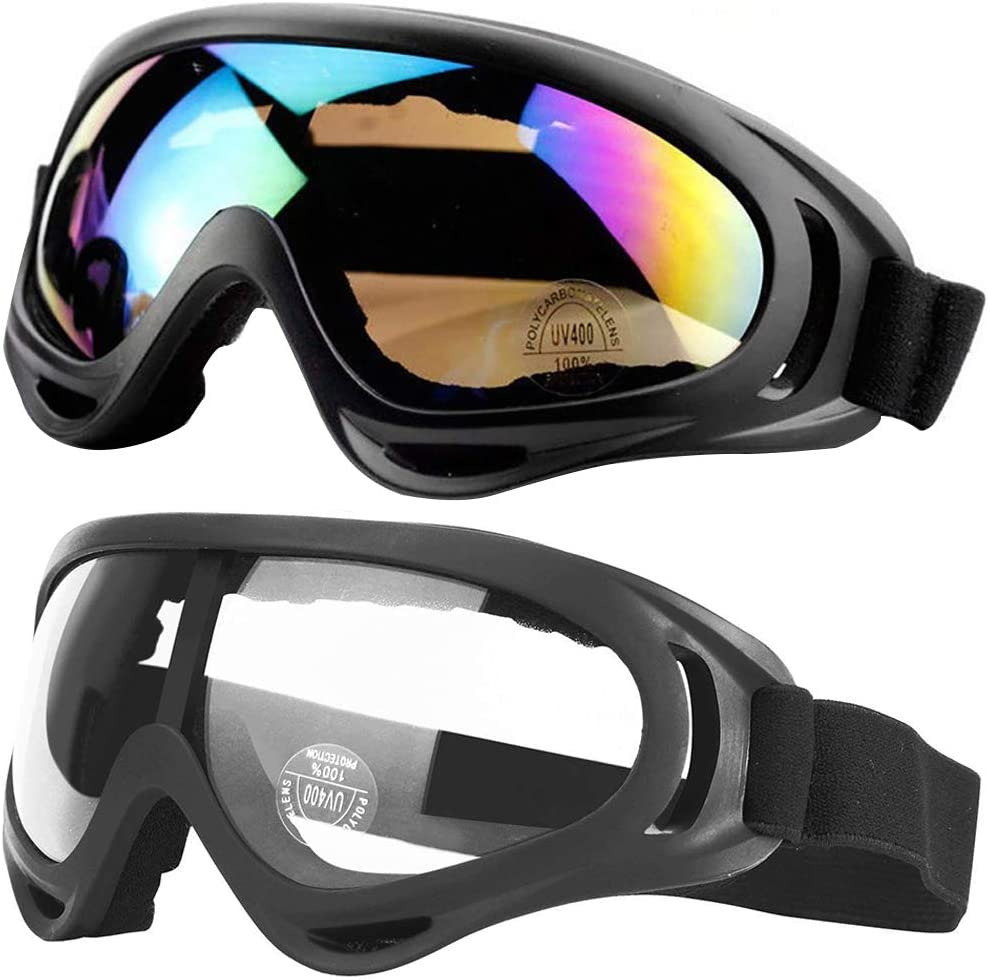 Peicees 2 Pack Ski Goggles Snowboard Adjustable UV 400 Protective Motorcycle Goggles Tactical Glasses Dust-Proof Sports Sunglasses for Kids, Boys, Girls, Youth, Men, Women