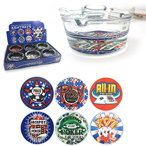 1-PC-Poker-Glass-Ashtray-Smoke-Play-Jack-Pot-Cards-Casino-Vegas-Design-Cigarette