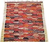 Moroccan Zanafi Tribe Berber Wool Kilim Area Rug 61''x57'' [SHIPS FROM WITHIN USA]