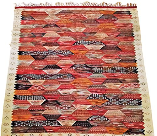 Moroccan Zanafi Tribe Berber Wool Kilim Area Rug 61''x57'' [SHIPS FROM WITHIN USA] by Moroccophile Souk