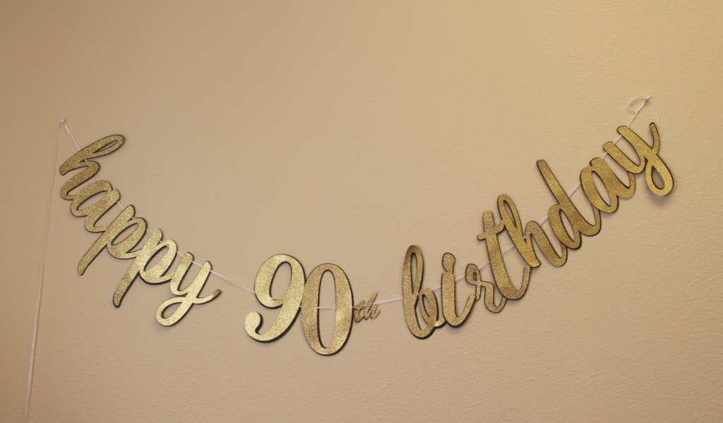 All About Details Happy 90th Birthday Cursive Banner 1set Decoration Black Gold