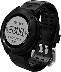 aiwako Waterproof GPS Outdoor Smart Watch UW80 (2018 BT4.2 Compass Atimeter SMS Heartrate Monitor Sleep Monitor for iPhone Android - Black