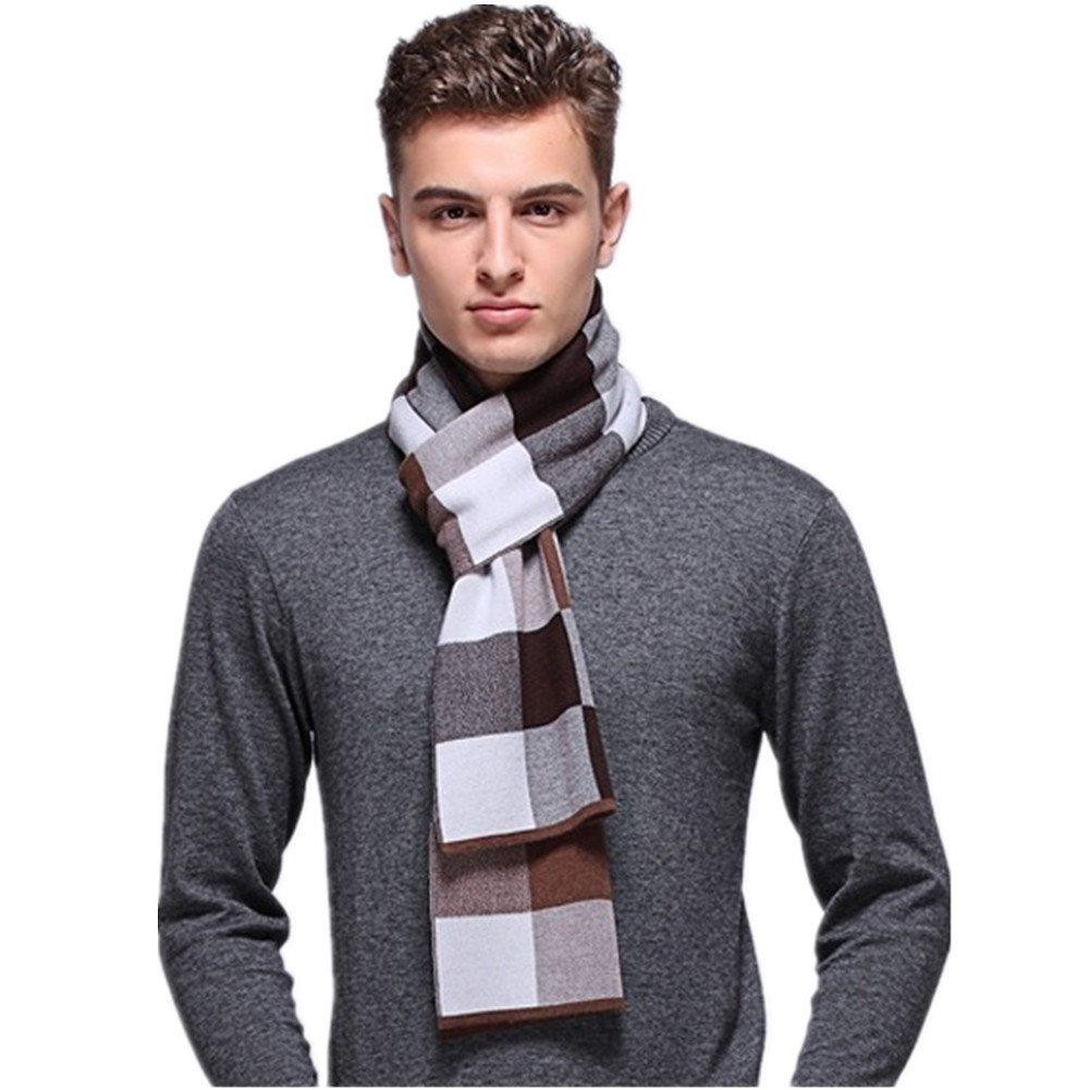 Kagogo Men Wool Scarf Knit Stripe Plaid Business Casual Winter Warm Scarves (Camel)