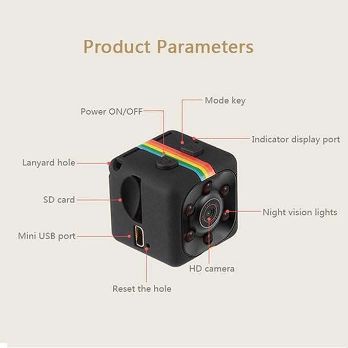 Kuerli Mini Cámara Espia HD 1080 Mini Coche Cámara de 360 ??Grados de Grabación de Video, Cámara De Deporte o Webcam, Soporte Micro SD, Apoye la Visión ...