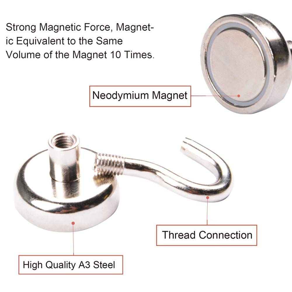 AUTIDEFY Magnetic Hooks 48LBS Heavy Duty Neodymium Rare Earth Magnet Hook - Kitchen Bathroom Bedroom Garage lockers Office 10 Pack