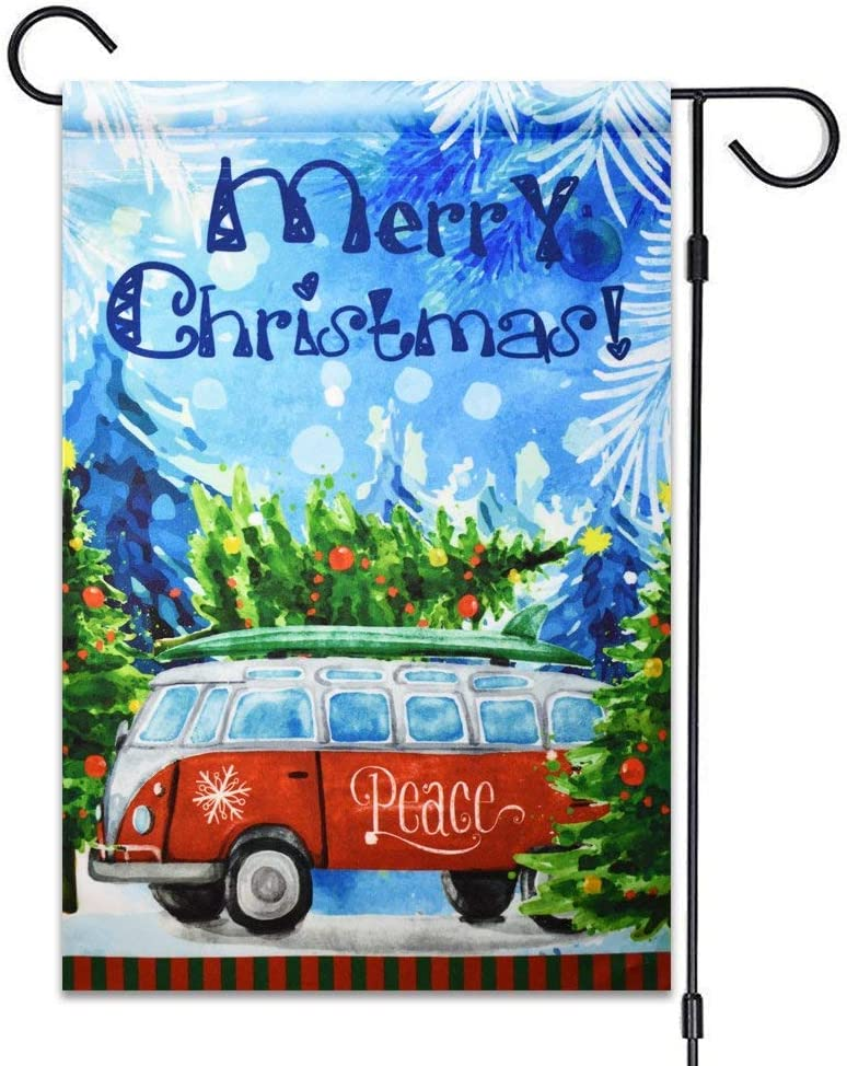 Jagfhhs Garden Flag Merry Christmas Decorative Flag 100% All Weather Polyester Small Size Banner (Merry Christmas Peace VW Bus)