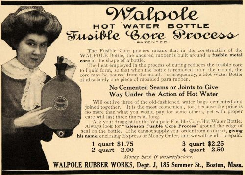 1909 Ad Walpole Woman Rubber Works Hot Water Bottle Product Boston Masachusetts - Original Print - Women Boston Hot