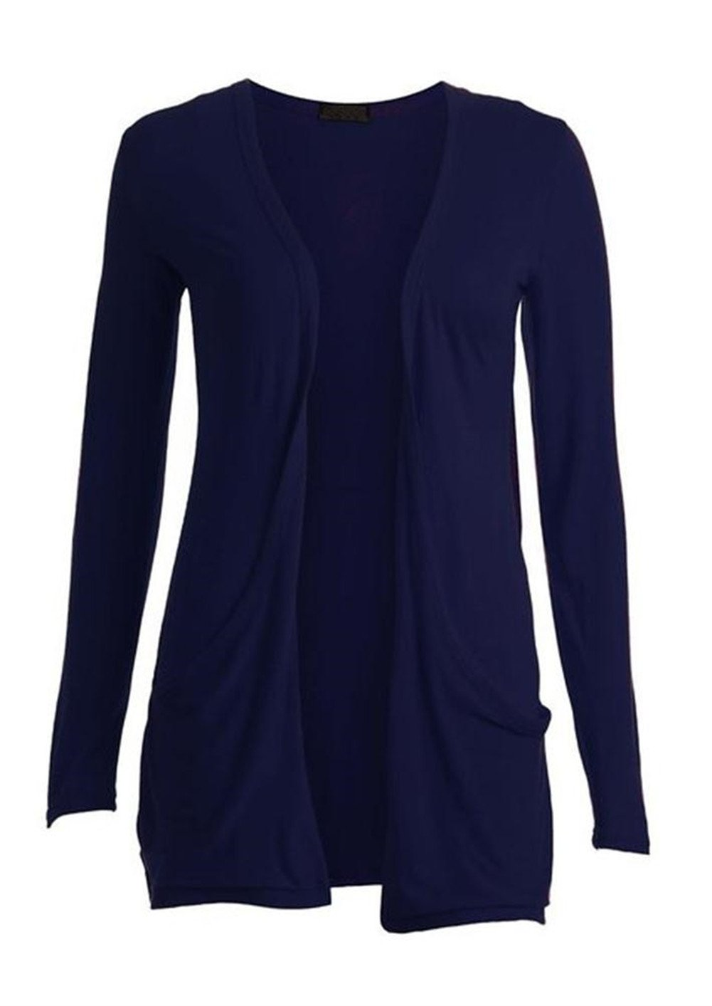 Commencer Ladies Women's Long Sleeve Boyfriend Open Cardigan with Front Pockets NAVY-M/L