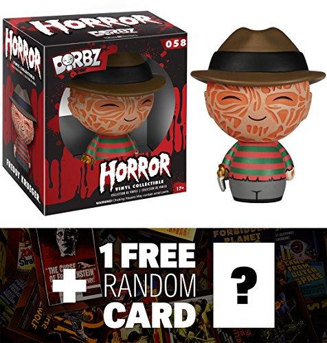 Freddy Krueger: Funko Dorbz Horror x A Nightmare on Elm Street Mini Vinyl Figure + 1 FREE Classic Horror & Sci-fi Movies Trading Card Bundle -