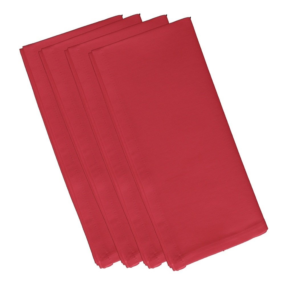 4 Piece Cardinal Red Dinner Napkin, (Set Of 4), Solid Pattern, Classic And Contemporary Style, Square Shape, Good Qualitie, Everyday Or Special Occasions, Decorative, Cotton Material, Berry Red