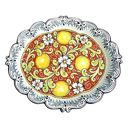 Italian Ceramic Tableware - CERAMICHE D'ARTE PARRINI - Italian Ceramic Art Pottery Plate Serving Tray Hand Painted Decorated Lemons Made in ITALY Tuscan