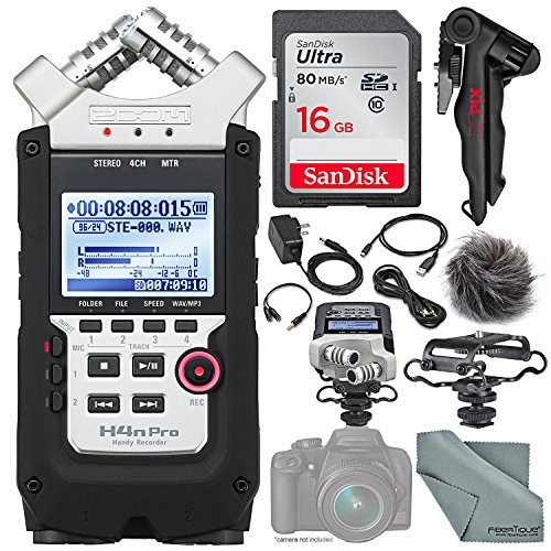 Zoom H4nPro Four-Channel Handy Audio Recorder – Accessory Pack kit, Microphone Shock mount, Table tripod, 16GB, along with Fibertique Cleaning cloth ()