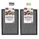 Grill Mesh, Zinnor BBQ Grill Mesh Mat Set of 2,FDA-Approved Non Stick BBQ Mesh Grill Mats Teflon Grilling Mats, Nonstick Fish Vegetable Smoker Mats for Grill - Works on Gas,Charcoal, Electric Barbecue