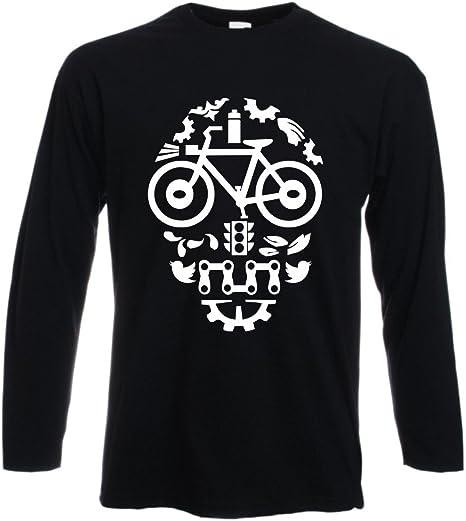Camiseta de Manga Larga Negra cráneo – Bicicleta BMX Mountain Bike Skull – Biker Style – S M L XL XXL by tshirteria Negro Talla:Medium: Amazon.es: Deportes y aire libre