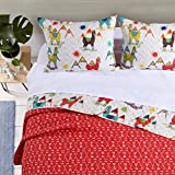 L&M 3 Piece White Multi Color Llama Themed Quilt Full Queen Set, Vibrant Mountain Sun Shine Alpaca Motif Bedding, Fun Animal Sunny Outdoor Abstract Pattern, Blue Red Green Yellow Brown, Microfiber