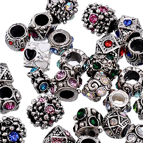 RUBYCA 50Pcs Mix Lot Assorted Crystal Silver Color Tibetan Metal Charm Beads Jewelry Making