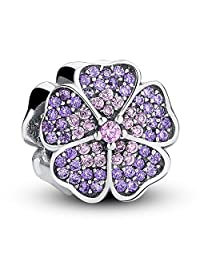 Sparkling Apple Blossom Flower with Purple Pink Clear CZ 925 Sterling Silver Bead Charm
