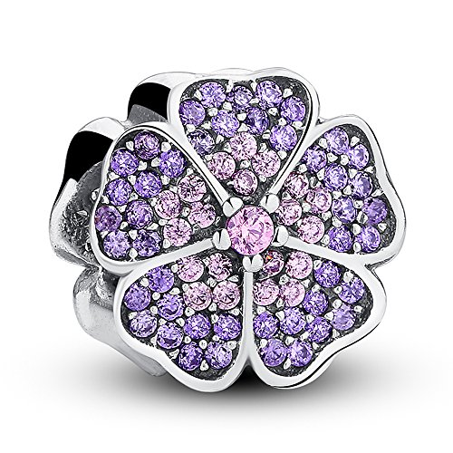The Kiss Sparkling Apple Blossom with Purple and Pink CZ 925 Sterling Silver Bead Fits European Charm ()