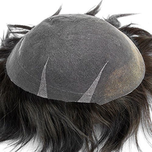Price comparison product image Stock Dark Brown Mens Toupee 100% Human Hair System #2 Full Swiss Lace