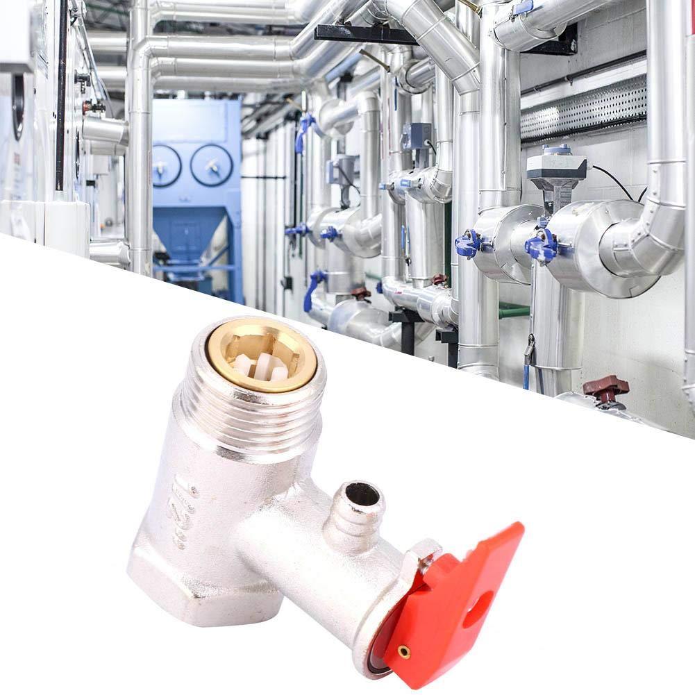 Safety Valve Water Heater Pressure Relief Check Brass Nickel Plated Pressure Valve 0.9MPa G1//2in