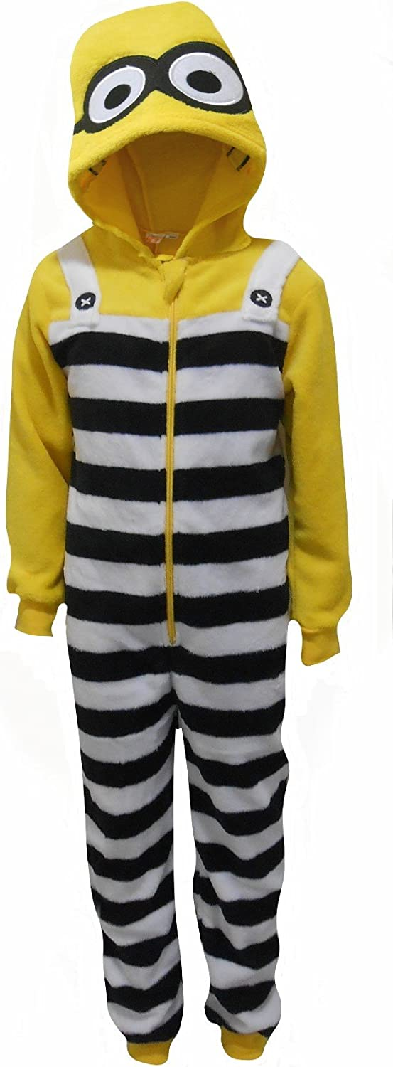 Despicable Me Minions Boys Fleece Feel Hooded One Piece Sleepsuit