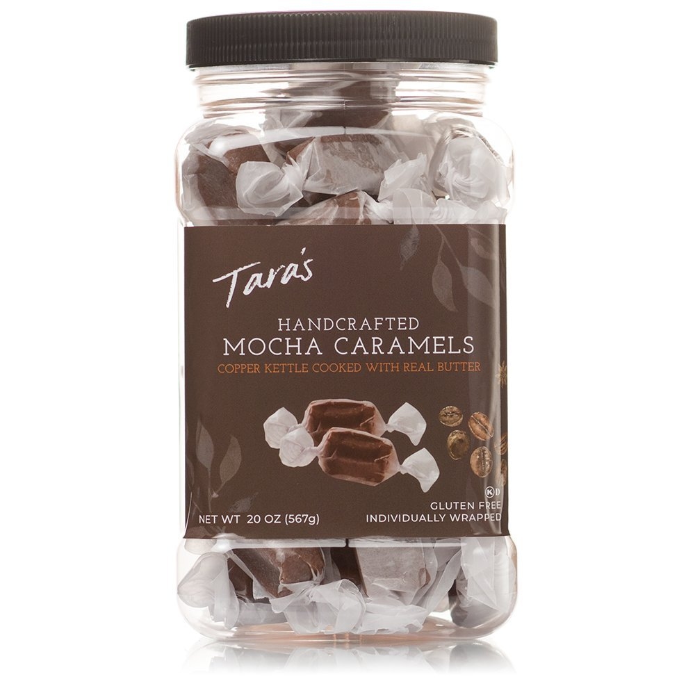 Tara's All Natural Handcrafted Gourmet Mocha Caramel: Small Batch, Kettle Cooked, Creamy & Individually Wrapped - 20 Ounce