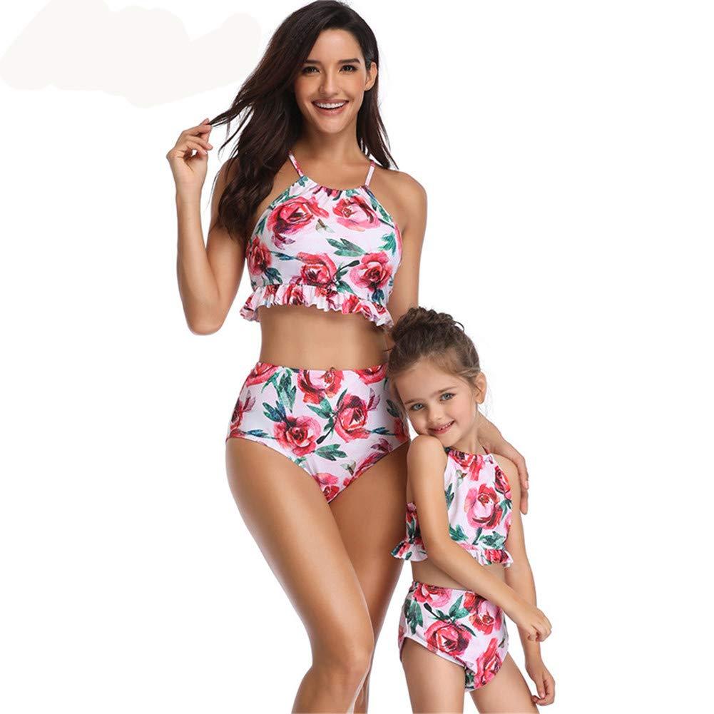 JOler Mamma e Figlia Costume da Bagno Famiglia Abiti Coordinati, Mamma e Me Vestiti Costumi da Bagno Mamma e Ragazza Bikini Donna, Sicurezza e Comfort Materiale Costume da Bagno Diviso
