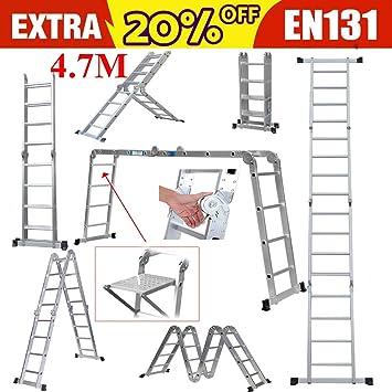 Escalera telescópica telescópica de aluminio con bisagras de bloqueo de seguridad y 1 bandeja de herramientas de seguridad fabricada 14 en 1 (4,7 m): Amazon.es: Bricolaje y herramientas