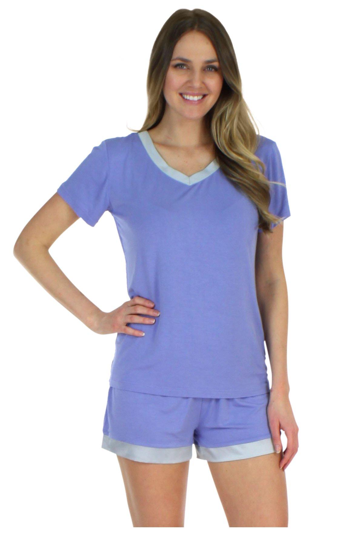Pajama Heaven Women's Sleepwear Bamboo Jersey V-Neck Top and Shorts Pajama Set with Satin Trim, Lavender (PHBJ1940-1024-LRG)