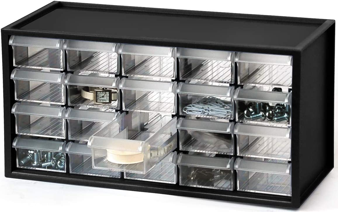 livinbox 20 Drawer Plastic Parts Storage Hardware and Craft Cabinet, Desktop Hardware Storage Organizer Multi Use Compartment Container– Black, A9-520, 14.9 x 6.1 x 7.4Inch