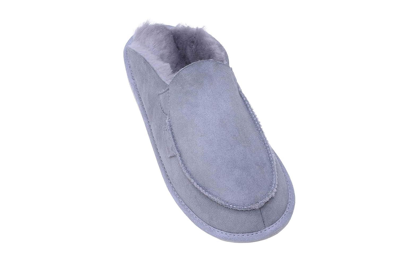 Vogar Hommes Femmes Luxe Peau de Mouton Pantoufles Chaussons avec Doublure  Chaud Laine W44 cf49b8a2888d