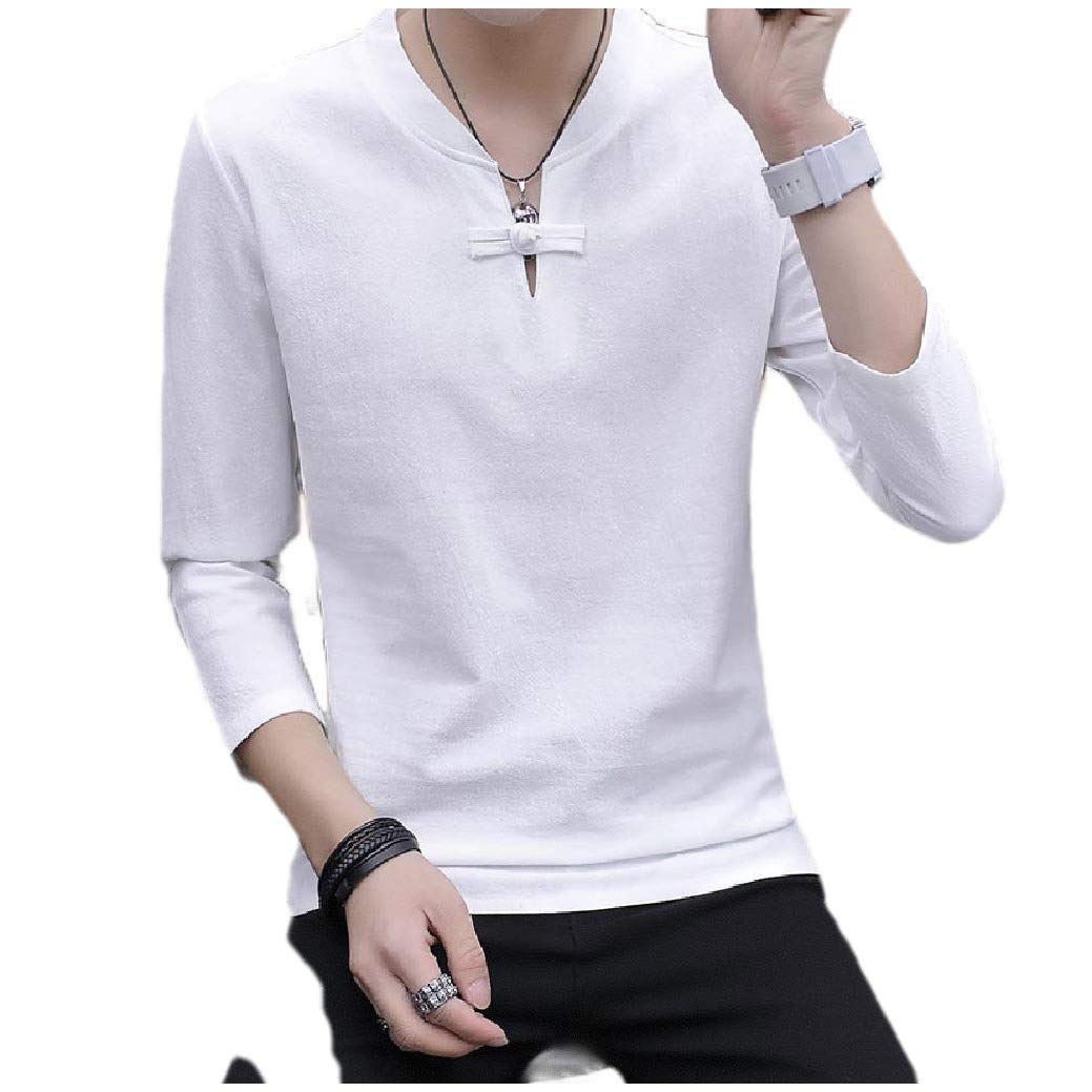 Freely Mens Pure V Neck Shirts Pullover Cotton Linen Long-Sleeve T-Shirt Top
